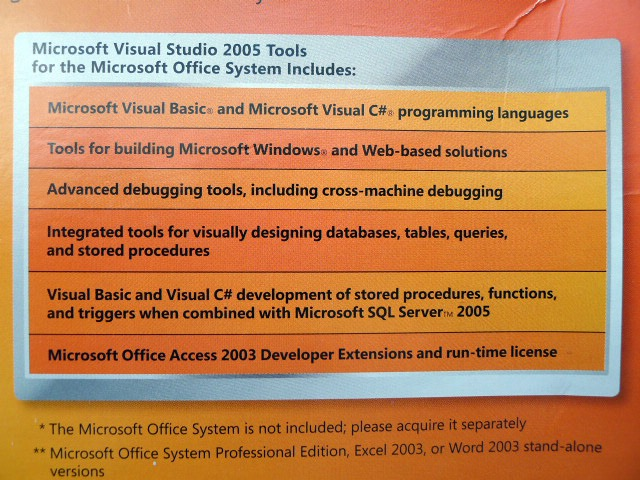 Microsoft visual studio 2005 tools for the microsoft office system u74 00171 ebay - Visual studio tools for office ...